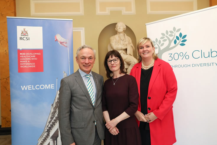 Minister for Education and Skills Richard Bruton T.D., Dr Niamh Nolan, NUI Galway, and 30% Club Ireland Lead, Carol Andrews celebrate the national launch of the 30% Club scholarships.