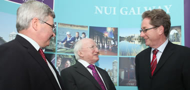 Pictured at the fourth International Disability Conference at NUI Galway from left: Professor Ger Quinn, Director, Centre of Disability Law and Policy; President of Ireland, Michael D. Higgins; and NUI Galway's President, Dr Jim Browne.