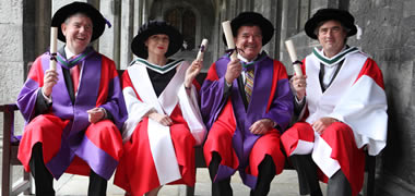 Pictured at the Honorary Conferring (l-r): Irial Finan,  Maureen Dowd, Minister Jim Flaherty MP and Sebastian Barry.