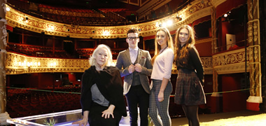 At the launch of the Druid Academy at NUI Galway earlier this year at the Gaiety Theatre Dublin were (LtoR) NUI Galway students Dale Leadon-Bolger, Emily Noctor and Mollie Ball with Award winning theatre actress and founder member of Druid theatre company Marie Mullen