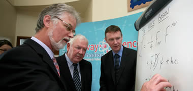 (l-r): Professor Tom Sherry, Dean of Science at NUI Galway; Tom Hyland, Chairman of Galway Science & Technology Forum and coordinator of the 'Accelerating Science' Exhibition; and Mike O'Flynn, Managing Director and Vice President of Operations, Boston Scientific Galway
