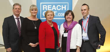 Pictured is Gerry Raleigh, Elaine Geraghty, Minister Frances Fitzgerald, Professor Margaret Barry and Derek Chambers at the ReachOut.com Technology for Well-Being International Conference.