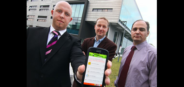 Lochlann Scott MD of Helplink Support Services Ltd with NUI Galway's Dr Michael Schukat and Stephanus Meiring at the launch of the new app.