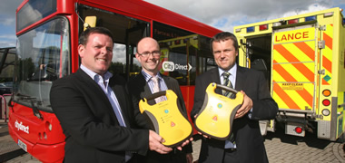 Pictured at the launch of City Direct Fleet Defibrillators at NUI Galway's Park and Ride Car Park are (l-r) Glenn Ward, City Direct, Greg Power, NUI Galway and Gerard Bartley, City Direct.