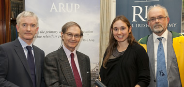 (l-r): Fergus Monaghan, Arup; Sir Roger Penrose, Oxford University; Saorla Molloy, NUI Galway student and Hamilton Award recipient; and Professor Luke Drury, RIA.