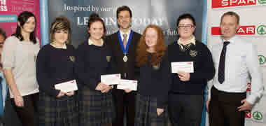 (l-r): Brian Duffy, CIMA President; students Lorraine Feehily, Kaley Omen, Emma Helebert, Tara Mathews and David Martin from Seamount College, Kinvara, Co. Galway; and Padraic de Burca, J.E. Cairnes School of Business and Economics, NUI Galway