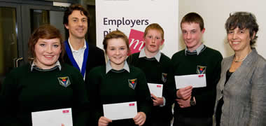 From left: Brian Duffy, Chairperson CIMA West of Ireland Branch; students Meadbh Broderick, Gearóid Loughnane, Olivia Lennon and Eoin Holohan from St. Raphael's College, Loughrea, Co. Galway; and Dr Geraldine Robbins, Lecturer with the J.E. Cairnes School of Business and Economics at NUI Galway.