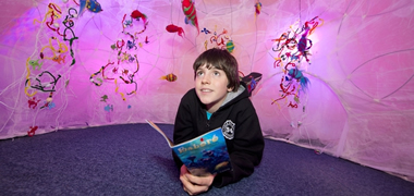 Cian Flaherty of Galway Educate Together National School at the recnt Baboró BEAST! exhibition. BEAST! will again be on display as part of NUI Galway's 'Art From Science' exhibition during the Galway Science and Technology Festival from 13-25 November.