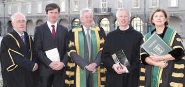 Pictured (l to r) at the NUI Awards Ceremony 2013, An tOllamh Nollaig MacCongáil, Registrar and Deputy President NUI Galway, Dr John Cunningham, NUI Galway (Winner of the NUI Publication Prize in Irish History), Dr Maurice Manning, Chancellor of the University of Ireland, Dr Colmán Ó Clabaigh, NUI Galway (Winner of the NUI Irish Historical Research Prize) and Dr Attracta Halpin, Registrar of the University of Ireland.
