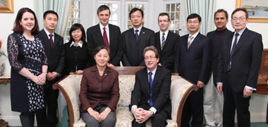 Pictured at the visit were (seated front) Liya Dong, Deputy Director General, Department of Science & Technology Development, MOST and NUI Galway President, Dr Jim Browne. (Standing l-r) Anna Cunningham, NUI Galway; Shuhua Wang, MOST; Xiaolin Guo, MOST; Professor Timothy O'Brien, REMEDI; Zhijun Yang, MOST; Dr Brian Hughes, NUI Galway; Kaiyuan Long, MOST; Professor Lokesh Joshi, NUI Galway; and Professor Sanbing Shen, REMEDI.