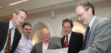 Pictured at the launch of the Brendan Duddy Archive at NUI Galway where eight unseen documents from the historical papers were unveiled, from left: John Cox, Librarian, NUI Galway; Dr Niall Ó'Dochartaigh, Lecturer in Politics, NUI Galway; Mr Brendan Duddy; President Jim Browne; and University Archivist Kieran Hoare.