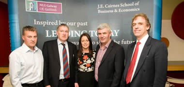 (left to right): Seán McGowan, Atlantic Ocean Rower; Professor Eamon O'Shea, Professor of Economics at NUI Galway and Manager of the Tipperary Senior Hurling Team; Caroline Currid, Performance Coach; Pádraig Ó Céidigh, Aer Arann; and Martin Conroy, Director of Continuous Improvement, Global Vascular Operations at Medtronic, Galway.