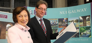Pictured launching the NUI Galway Colm Ó hEocha Bursary at the University recently is Dr Ó hEocha's wife Daiden Ó hEocha with Dr Jim Browne, NUI Galway President.