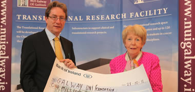 President of NUI Galway, Dr Jim Browne and Dr Anna Ó Coinne, Chairperson, NBCRI
