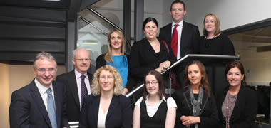 Pictured at one of the recent Career Mentoring events at NUI Galway J.E. Cairnes School of Business and Economics were: (back row, l-r): Bobby Clinton, DHKN; Mary Dullaghan, Avaya; Aisling Fitzgerald, PWC; Pat Duggan, Davy; and Mary Barrett, Lecturer in Accountancy and Finance at NUI Galway.