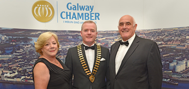 Pictured on a visit to Galway in July 2012, (l to r) Anne Lawless, Chamber of Commerce Chairman at the time Declan Dooley and Billy Lawless.