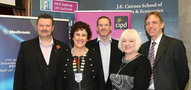 CIPD Speakers (l-r) Dr John McGurk, CIPD Head of Scotland, Geraldine Grady, Chairperson of Western Region CIPD, (Alumni, Class of 2006), Tom Ryan, Associate HR Director, Alkermes (Alumni, Class of 2006), Annette Murphy, Assistant Principal, Department of Social Protection (Alumni, Class of 2003), Martin Conroy, Senior Director of Continuous Improvement at Medtronic