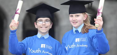 Joining the ranks at NUI Galway as part of the University's Youth Academy are Maeve Quinn and Pedro Quaresma, both students at Scoil Chaitríona Senior in Renmore, Galway.