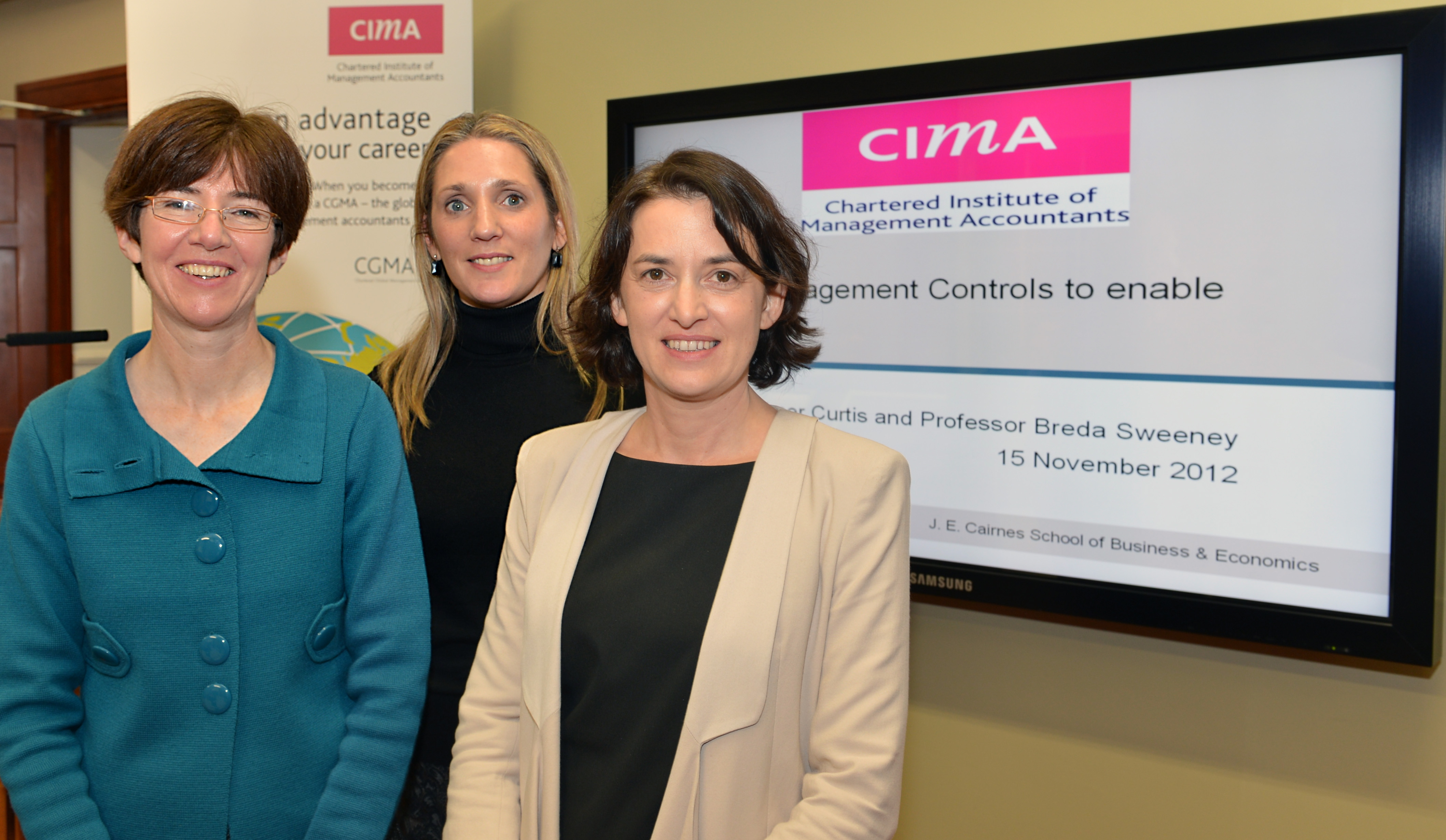 Prof Breda Sweeney (NUI Galway), Nicola Glynn (CIMA) and Dr Emer Curtis (NUI Galway) pictured at the CIMA Workshop 'Using Management controls to enable Innovation'