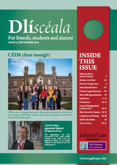 School of Law Newsletter 2016 cover