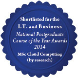 MSc Cloud Computing shortlisted