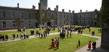 Newly conferred graduates gather in The Quadrangle at NUI Galway