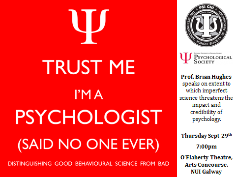 "Public Lecture by Prof. Brian Hughes: '""Trust Me, I'm a Psychologist""-image"